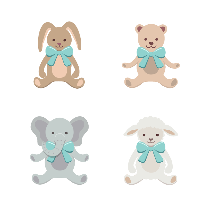 Animal illustrations of bunny, teddy bear, elephant and lamb wearing bows in a flat vector style