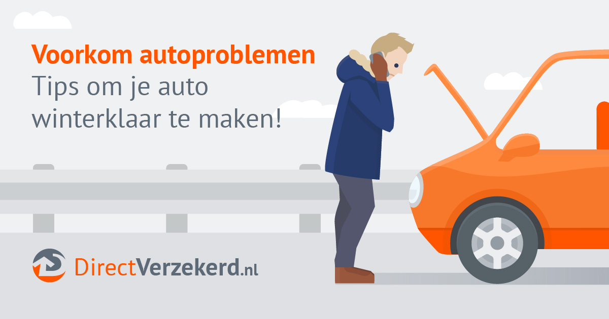 "Man hunched over front hood of car calling insurance company about car breakdown. Text reads ""Voorkom autoproblemen Tips om je auto winterklaar te maken!"" with logo at bottom ""DirectVerzekerd.nl"""