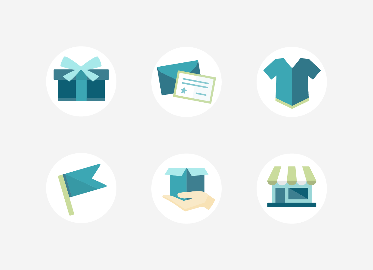 6 Flat icons of a present with bow, a notecard and envelope, a t-shirt, a flag, a hand holding an open box, and a storefront