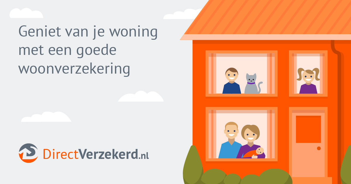 "Happy family of 5 with a cat looking out of a 2-story attached house. Parent holding newborn baby on first floor. Text reads ""Geniet van je woning met een goede woonverzekering"" with logo at bottom that reads ""DirectVerzekerd.nl"""