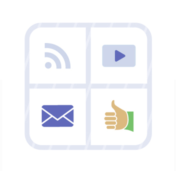 Icons of RSS feed, video, email, thumbs up