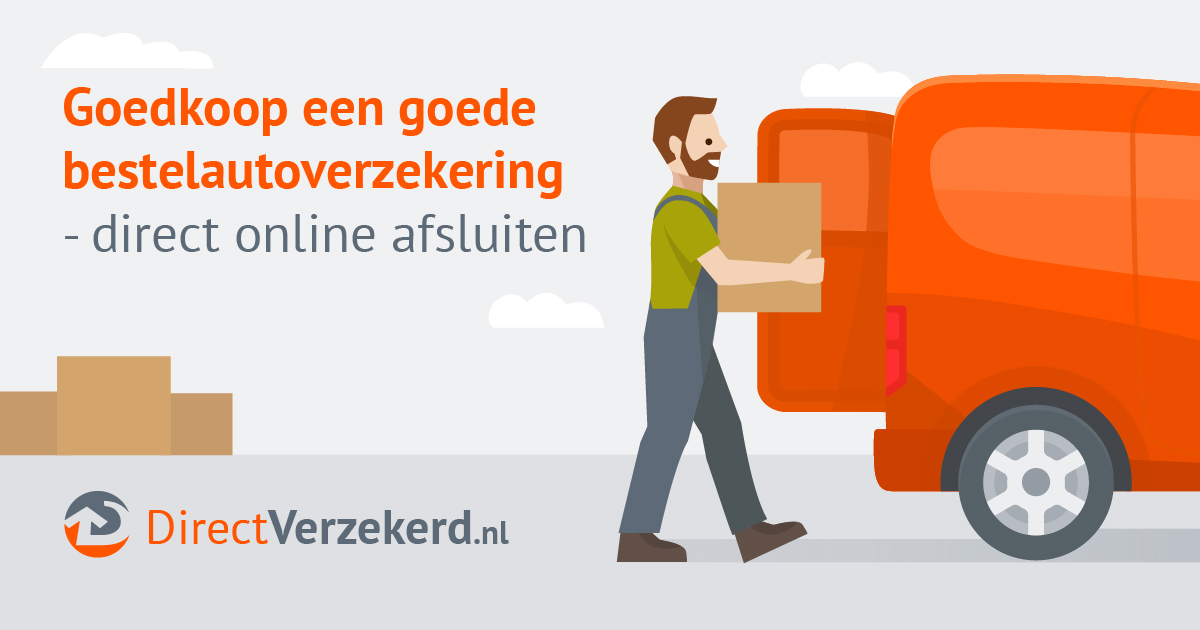 "Smiling contractor holding a box at the back of a van. Other boxes are to the left. Text reads ""Goedkoop een goede bestelautoverzekering - direct online afsluiten"" with logo at bottom that reads ""DirectVerzekerd.nl"""