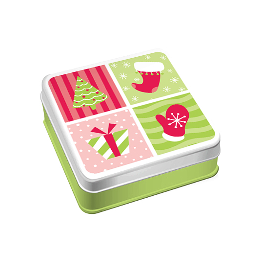 Illustrated tin gift card box of a Christmas tree, stocking, present and mitten