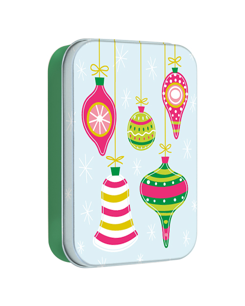 Illustrated tin gift card box of retro Holiday Ornaments