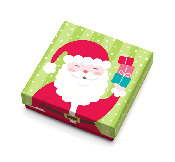 Illustrated paper gift card box with a smiling santa holding 3 little gift boxes