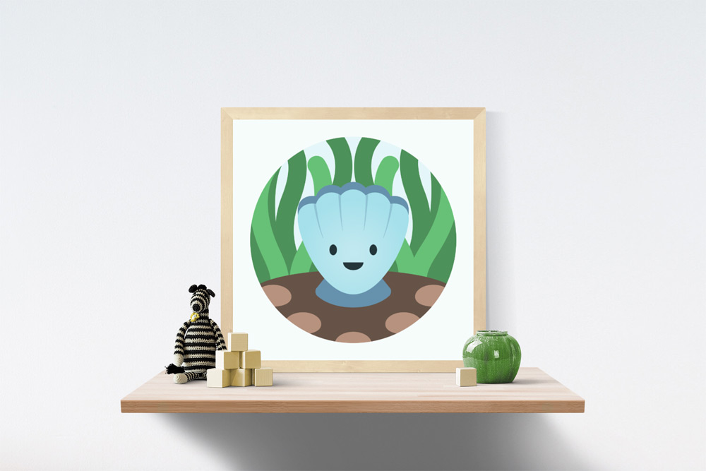 Clam Kids Art Illustration in wooden frame a top a wooden shelf. A knitted and striped black and white zebra, wooden blocks and short vase are also on the shelf.