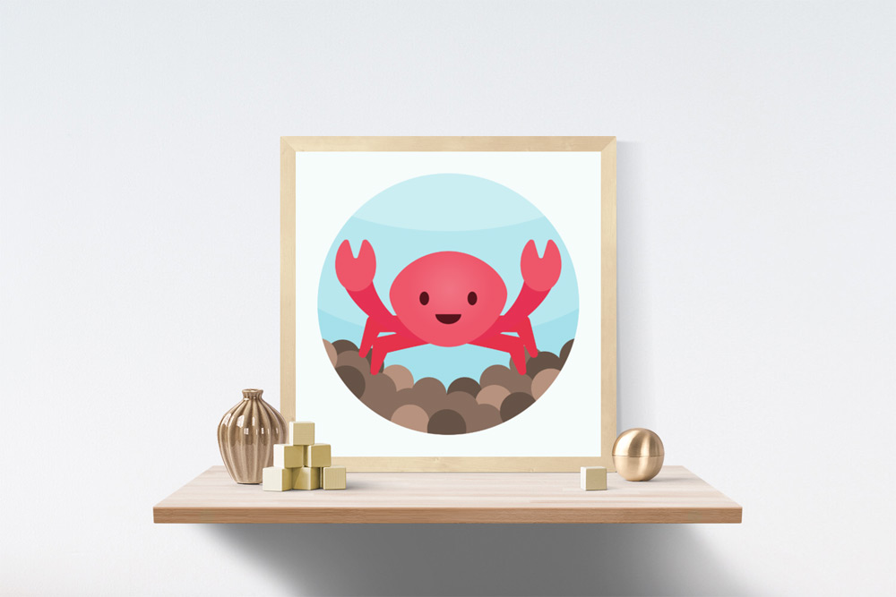 Crab Kids Art Illustration in wooden frame a top a wooden shelf. A vase, wooden blocks and brass sphere are also on the shelf.