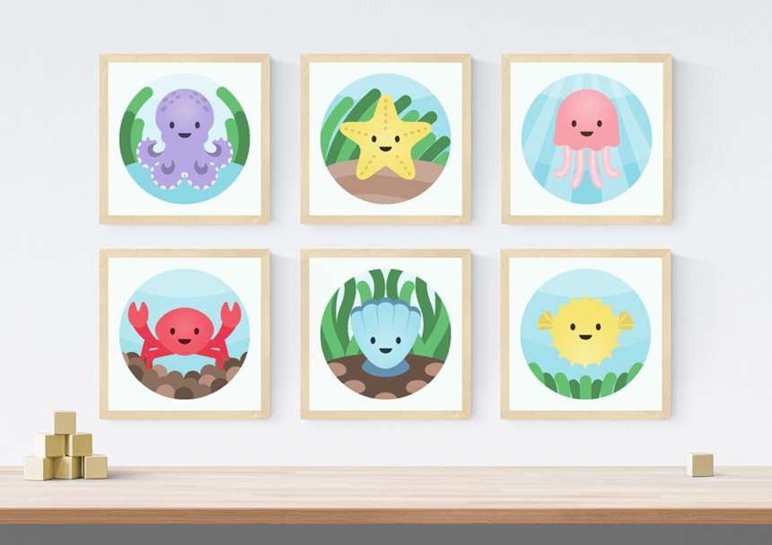 6 sea creature prints in wooden frames on the wall. The smiling sea creatures include an octopus, starfish, jellyfish, crab, clam and blowfish. Below the prints is a wooden shelf with wooden blocks placed on top.