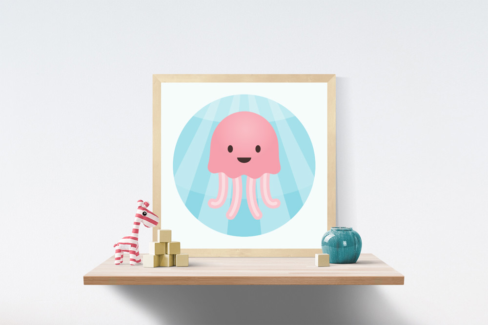 Jellyfish Kids Art Illustration in wooden frame a top a wooden shelf. A stuffed and striped pink and white giraffe, wooden blocks and short vase are on the shelf.