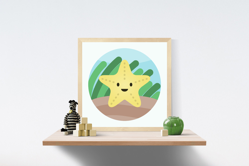 Starfish Kids Art Illustration in wooden frame a top a wooden shelf. A knitted striped black and white zebra, wooden blocks and short vase are on the shelf.