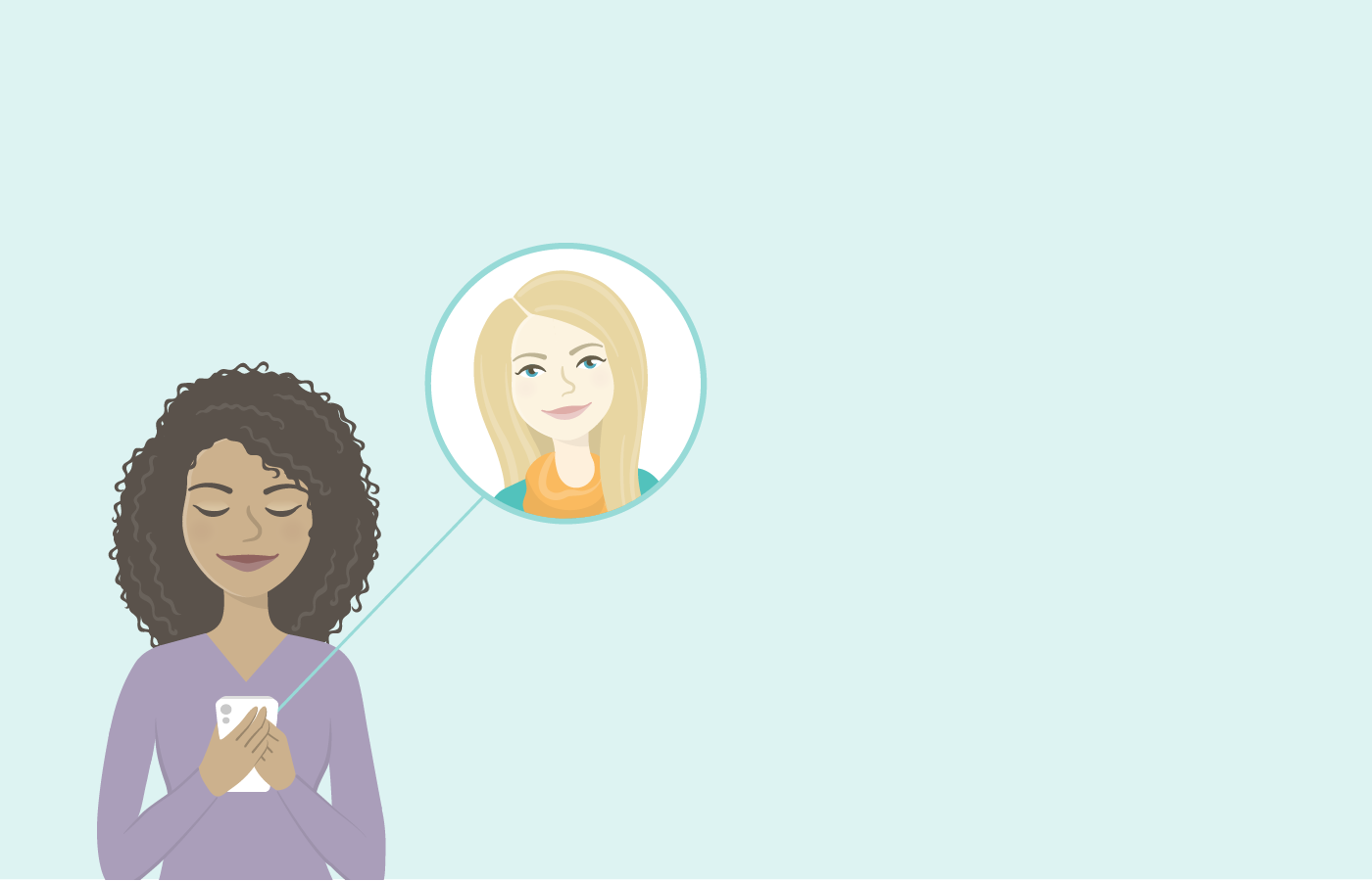 Illustration of woman using travel app chat with her friend's face in a bubble to the right