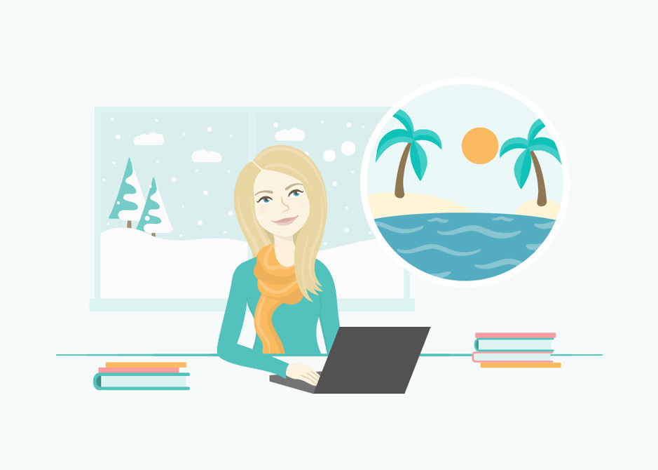 Woman seated at her desk with laptop, behind her is a window showing winter landscape. She is daydreaming of a tropical destination with palm trees, sand, and water.
