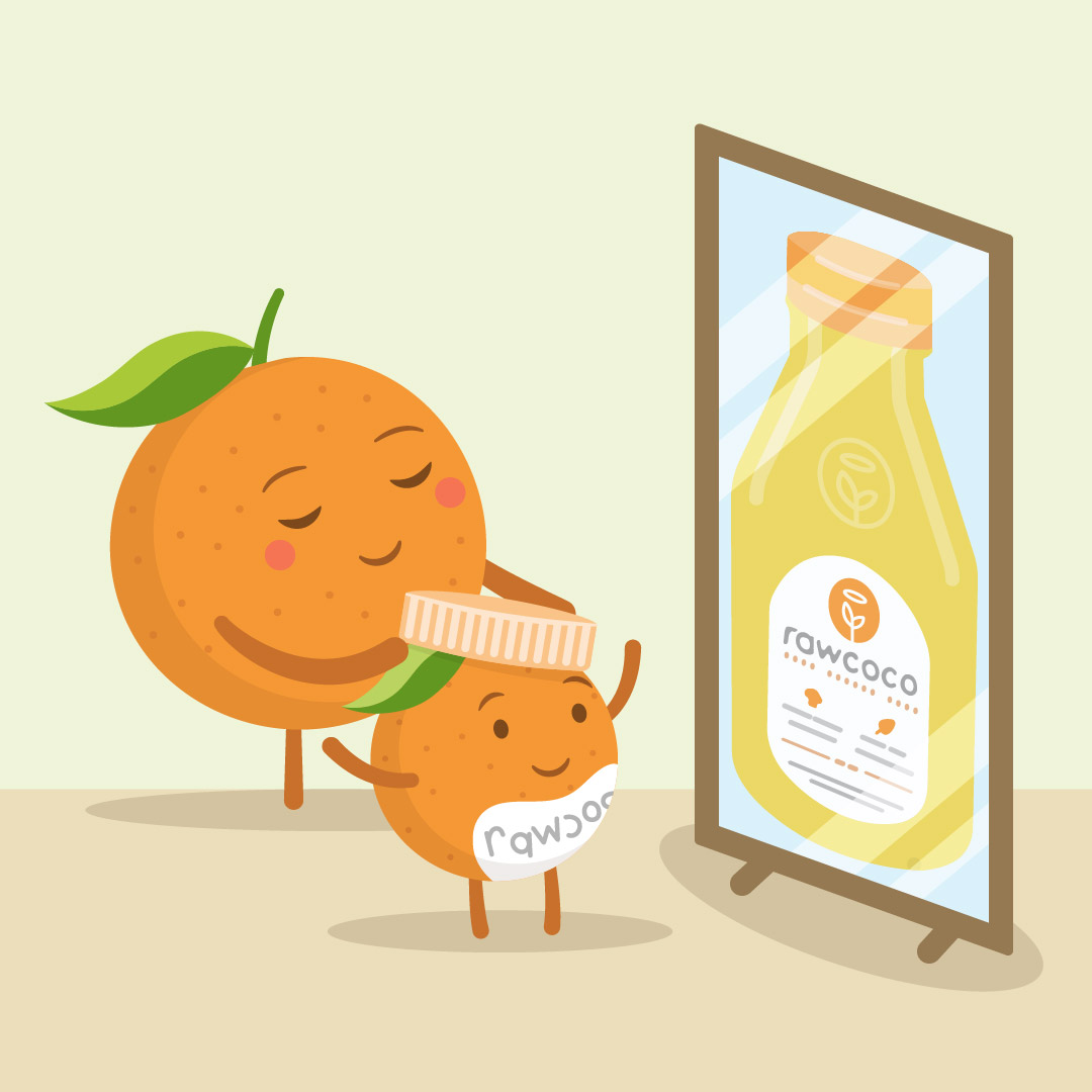 Vector illustration of an orange mother and child looking into a mirror with a juice bottle in the reflection