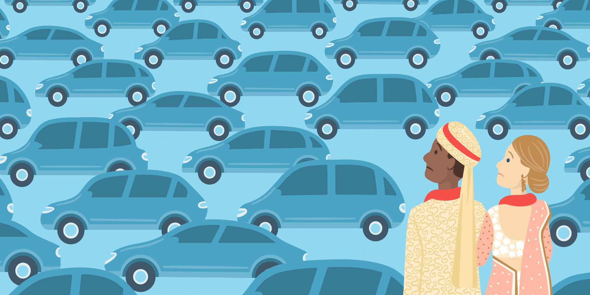 Illustration: Bride and Groom with worried faces looking into a sea of Uber cars.