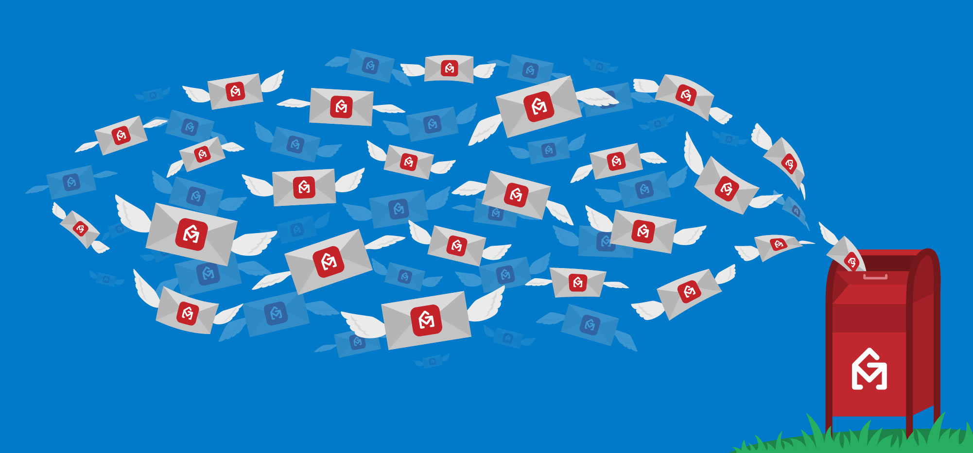 Illustration: Swarm of GMass-branded envelopes in the sky flying into a red mailbox with the GMass logo on it