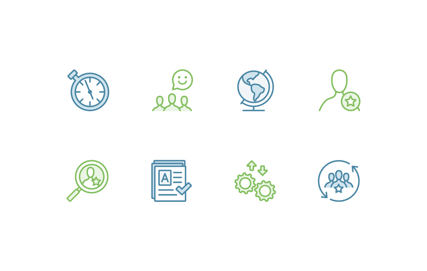 Line icons featuring a stopwatch, 3 figures with a smiley speech bubble, world globe, figure with a star badge, magnifying glass with figure and star, resume rated A with checkmark, gears with bi-directional arrows, 3 figures inside of circled arrows