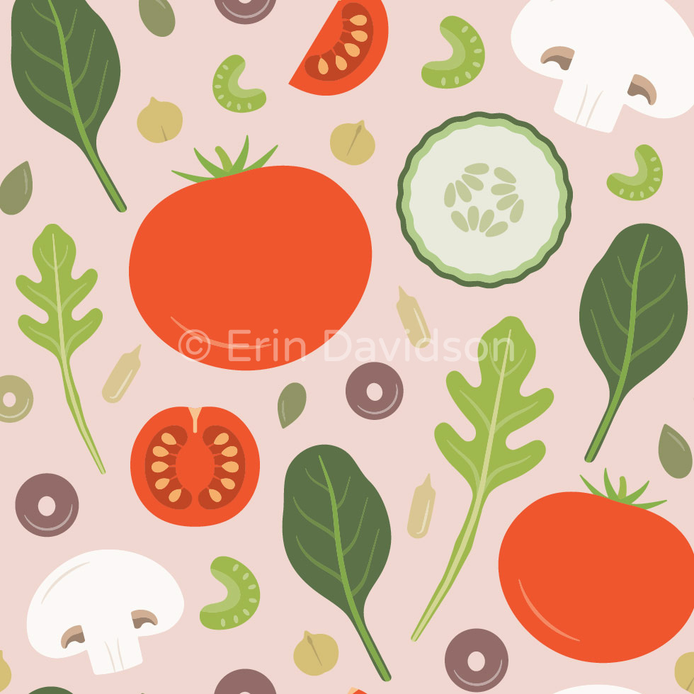 Pattern featuring whole red tomatoes, sliced cucumbers, white mushrooms, celery, cherry tomatoes, pumpkin seeds, chickpeas, green and black olives, spinach and arugula