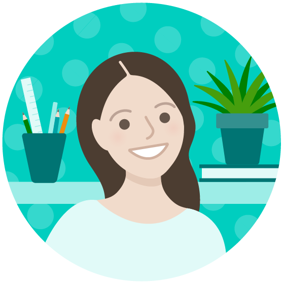 Cartoon portrait of Erin Davidson smiling with long hair. Behind her is a shelf containing art supplies, book and potted plant.
