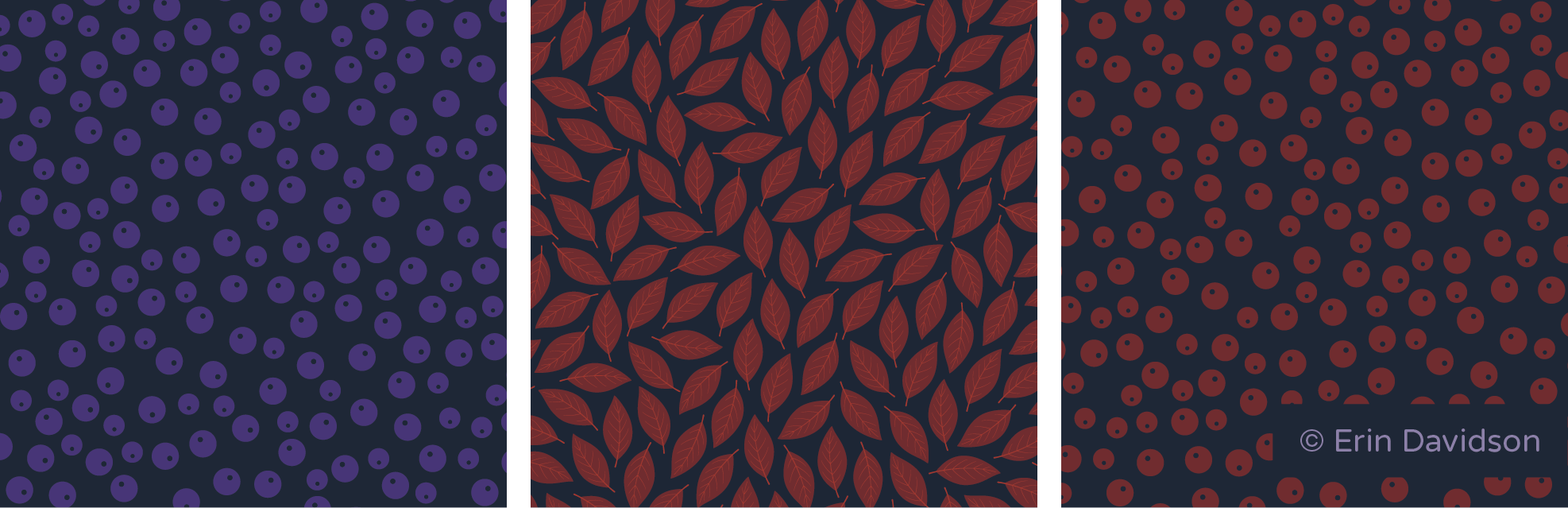 3 blender prints cropped side by side. Patterns are densely placed. 1st pattern features dark purple berries. 2nd pattern features red plant leaves. 3rd pattern features red berries.