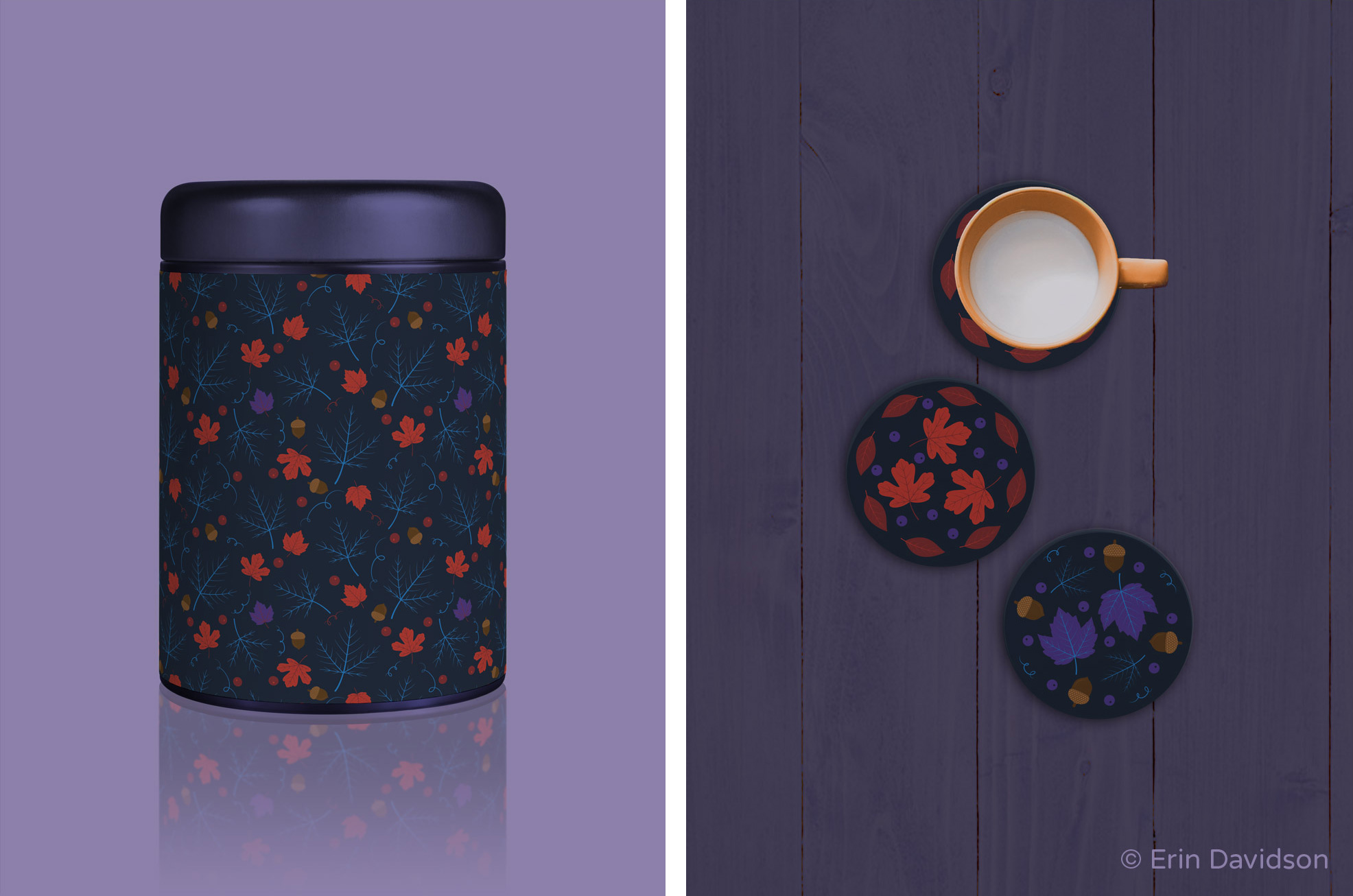2 product mockup photos placed side by side. 1st photo shows a secondary print applied to a dark purple tin canister. 2nd photo depicts a flat lay shot. Spot graphics are applied to 3 ceramic coasters. A yellow mug filled with milk is placed on 1 of the coasters. Beneath the items are dark purple wooden planks.
