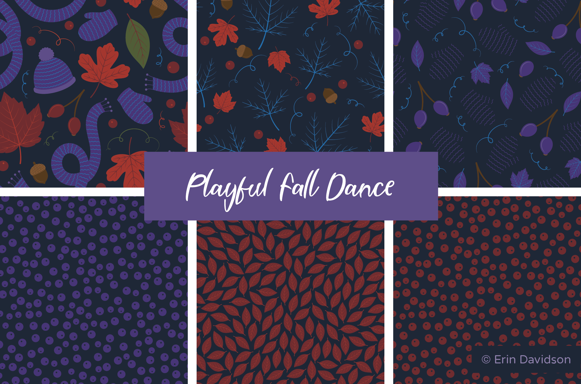 Cropped view of 6 surface pattern designs with the title Playful Fall Dance. All patterns/graphics feature a dark navy background, with muted multi-coloured foreground colours.