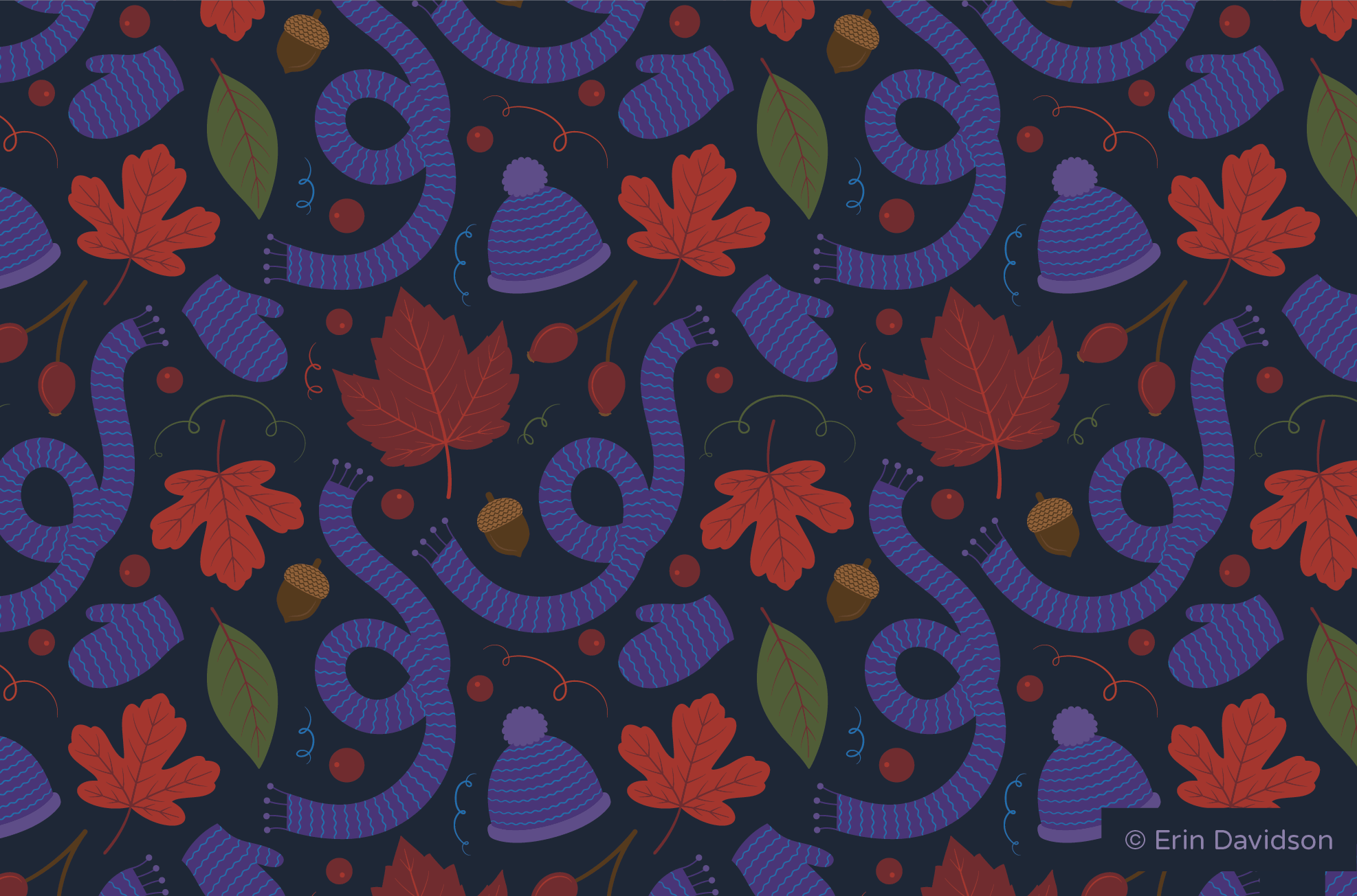 Hero print featuring purple scarves, mitts and hat, red and orange maple leaves, green plant leaves, rosehips, acorns, red berries, and curly vine motifs.