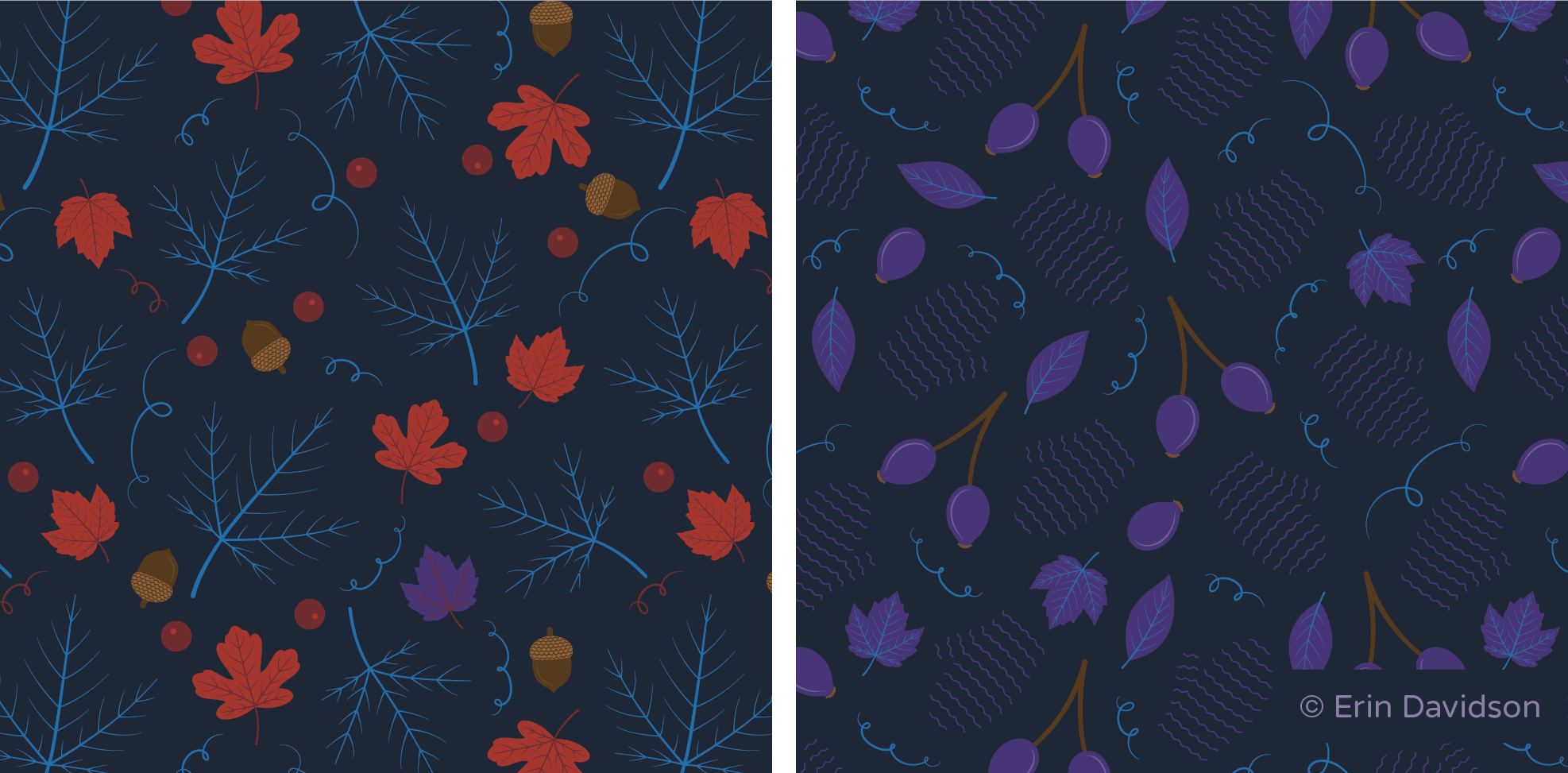 2 secondary prints cropped side by side. 1st pattern features smaller orange and purple maple leaves, acorns, red berries, blue vine motifs and large blue maple leaf veins. 2nd pattern features purple rosehips, purple maple leaves, dark purple striped mittens and blue vine motifs.