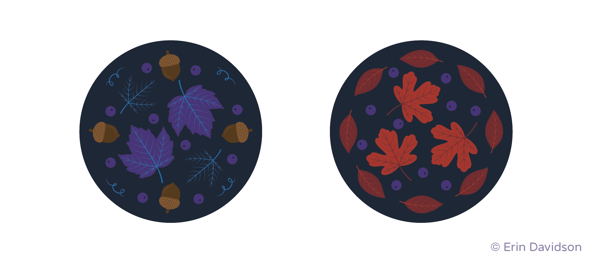 2 circle-shaped spot graphics. 1st graphic features brown acorns, purple berries and blue vine motifs circling 2 purple maple leaves. 2nd graphic features red plant leaves and purple berries circling 3 orange maple leaves.