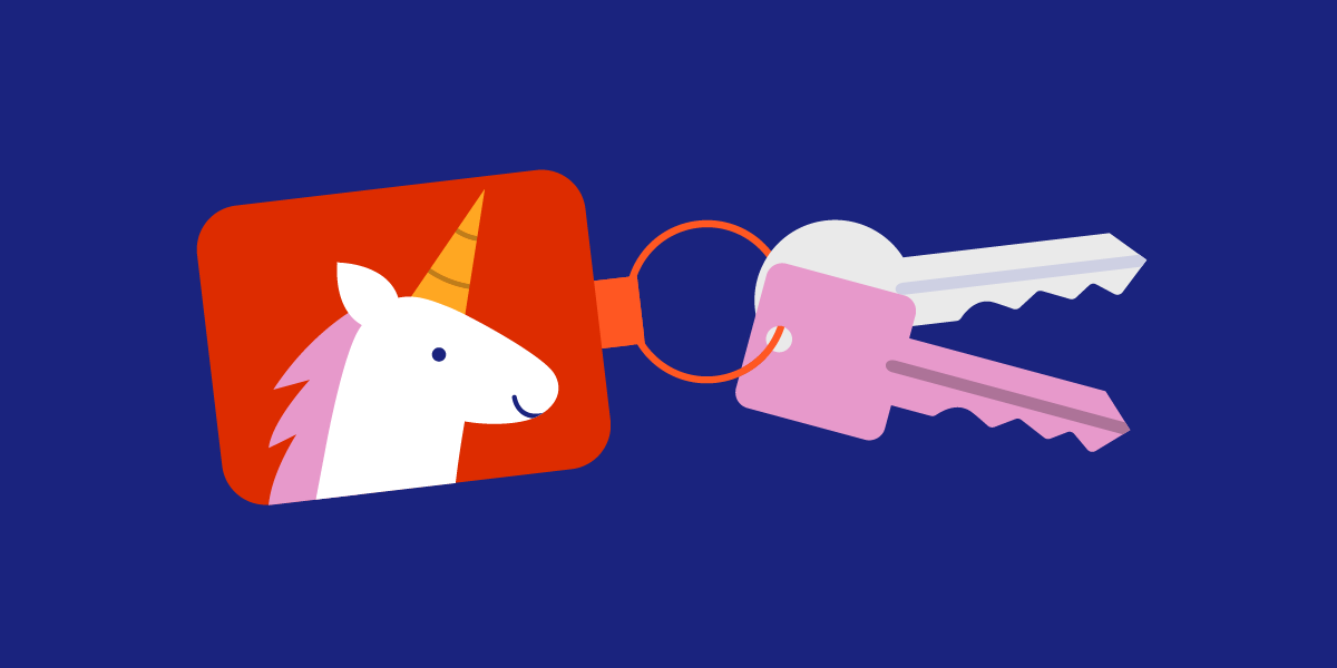 Website illustration of a unicorn keychain attached to 2 keys, one pink and the other gray.
