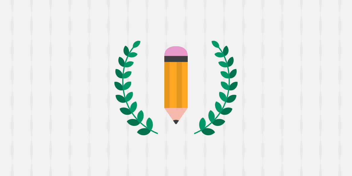 Website illustration of a yellow pencil, balanced on the pencil tip. The pencil is surrounded by green laurels. Featuring a gray background with vertical stripes.