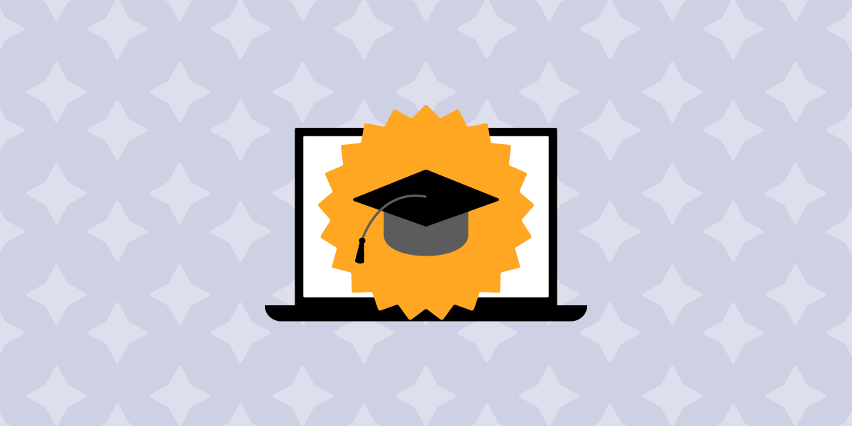 Website illustration of a laptop. On the laptop screen is a black graduate cap on top of a gold seal. In the background are star shapes.